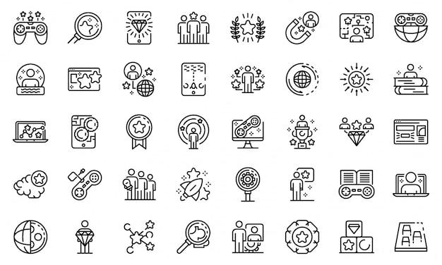 Conjunto de ícones de gamificação, estilo de estrutura de tópicos