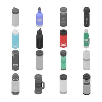 Conjunto de ícones de garrafa de água com isolamento a vácuo, estilo isométrico