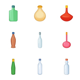 Conjunto de ícones de garrafa de emprty, estilo cartoon