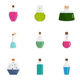Conjunto de ícones de garrafa de poção. conjunto plano de 9 ícones de garrafa de poção
