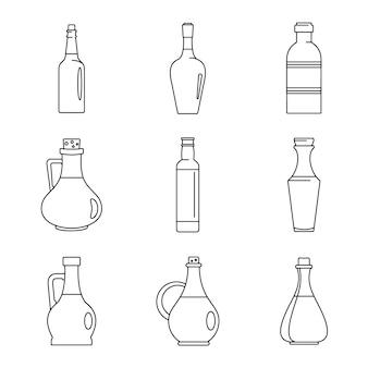 Conjunto de ícones de garrafa de vinagre