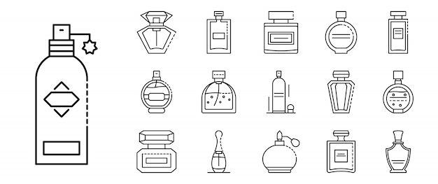 Conjunto de ícones de garrafas de fragrância, estilo de estrutura de tópicos