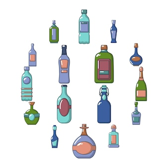 Conjunto de ícones de garrafas, estilo cartoon