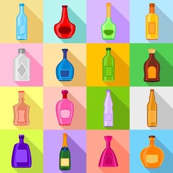 Conjunto de ícones de garrafas.