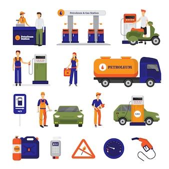 Conjunto de ícones de gasolina e posto de gasolina com pessoas
