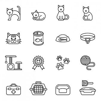 Conjunto de ícones de gato.
