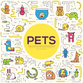 Conjunto de ícones de gatos de raça de linha fina. esboço bonito de ilustrações de animais de estimação.