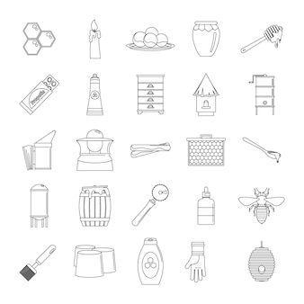 Conjunto de ícones de geléia real de mel de própolis