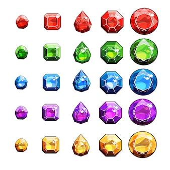 Conjunto de ícones de gemas e diamantes