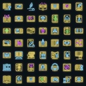 Conjunto de ícones de gêneros literários. conjunto de contornos de gêneros literários, ícones de vetor, cor neon em preto