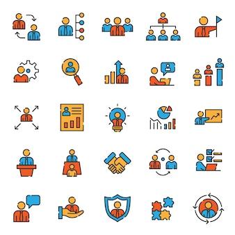 Conjunto de ícones de gerenciamento de desenvolvimento de negócios