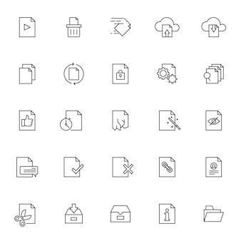 Conjunto de ícones de gerenciamento de documentos com contorno simples