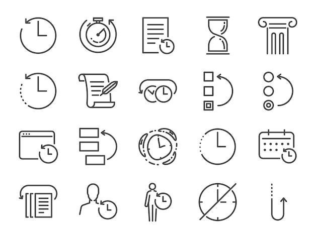 Conjunto de ícones de gerenciamento de história e tempo.
