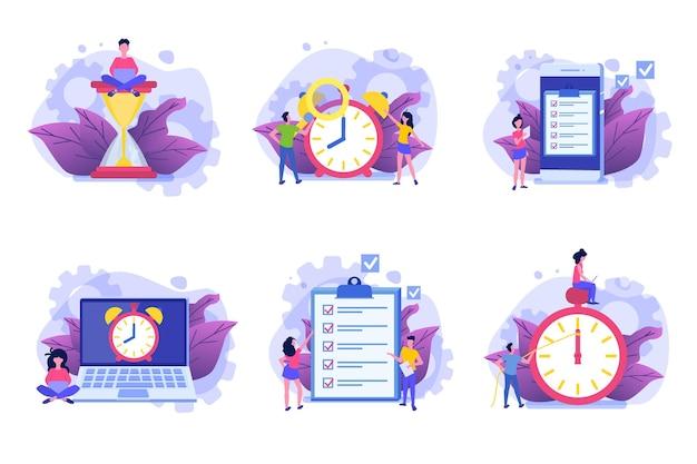 Conjunto de ícones de gerenciamento de tempo, aplicativo de agendamento de negócios.