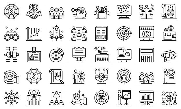 Conjunto de ícones de gerente de conta, estilo de estrutura de tópicos