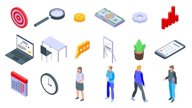 Conjunto de ícones de gerente de conta, estilo isométrico