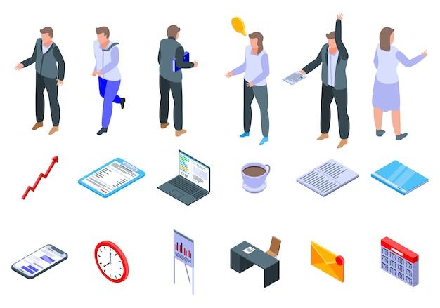 Conjunto de ícones de gerente de escritório