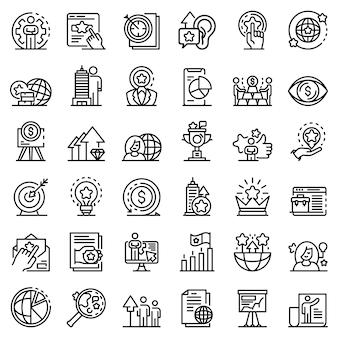 Conjunto de ícones de gerente de marca, estilo de estrutura de tópicos
