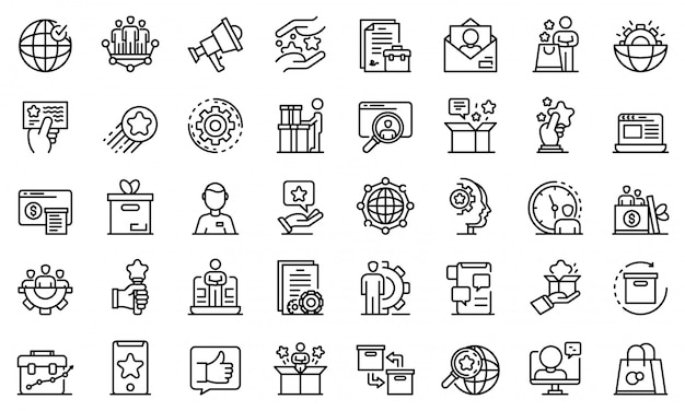 Conjunto de ícones de gerente de produto, estilo de estrutura de tópicos