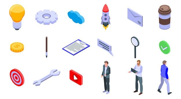 Conjunto de ícones de gerente de produto, estilo isométrico