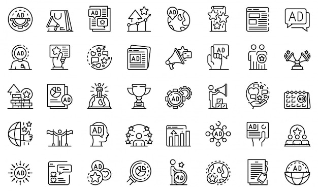 Conjunto de ícones de gerente de publicidade, estilo de estrutura de tópicos