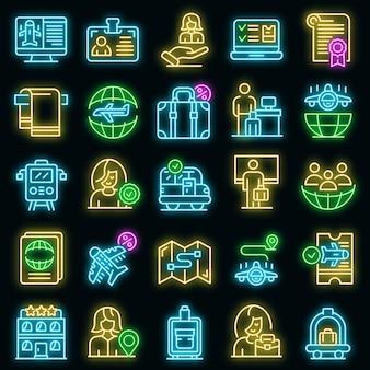 Conjunto de ícones de gerente de turismo. conjunto de contorno de ícones de vetor de gerente de turismo cor de néon no preto