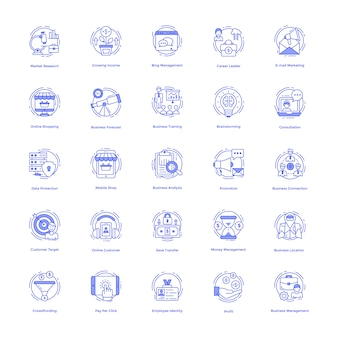 Conjunto de ícones de gestão de negócios