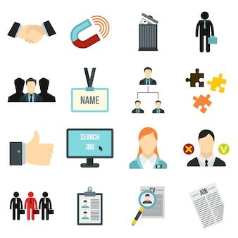 Conjunto de ícones de gestão de recursos humanos