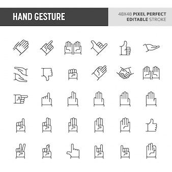 Conjunto de ícones de gesto de mão