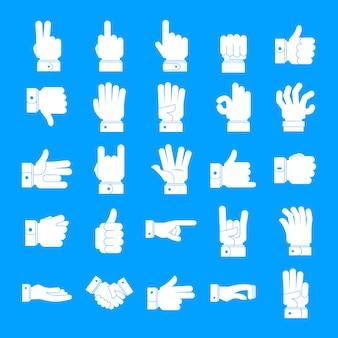 Conjunto de ícones de gesto, estilo simples