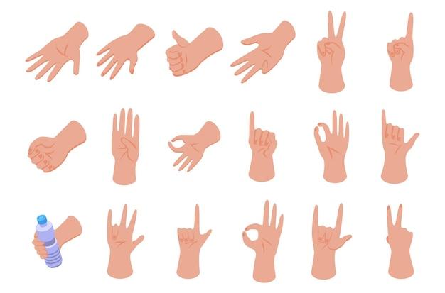 Conjunto de ícones de gestos com as mãos. conjunto isométrico de ícones de vetor de gestos com as mãos para web design isolado no fundo branco
