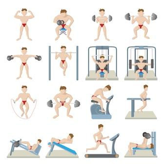 Conjunto de ícones de ginásio em vetor isolado de estilo dos desenhos animados