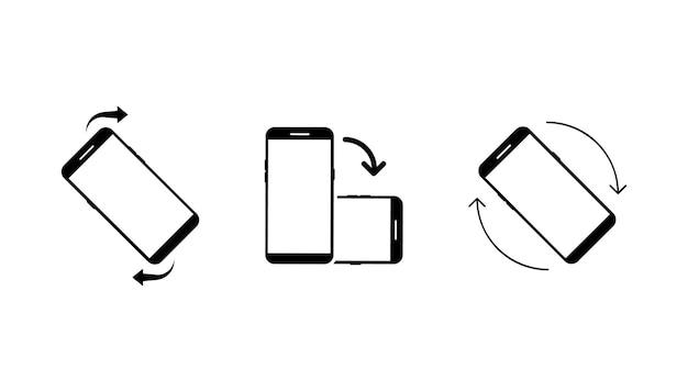 Conjunto de ícones de girar o conjunto de ícones do smartphone girar o telefone para mudar a orientação da tela