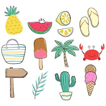 Conjunto de ícones de giro verão ou elementos com estilo colorido doodle