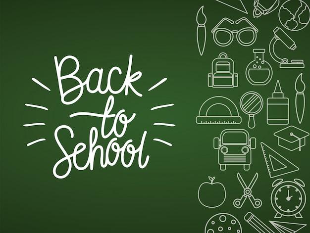 Conjunto de ícones de giz em design de quadro verde, tema de lição de aula de educação de volta à escola