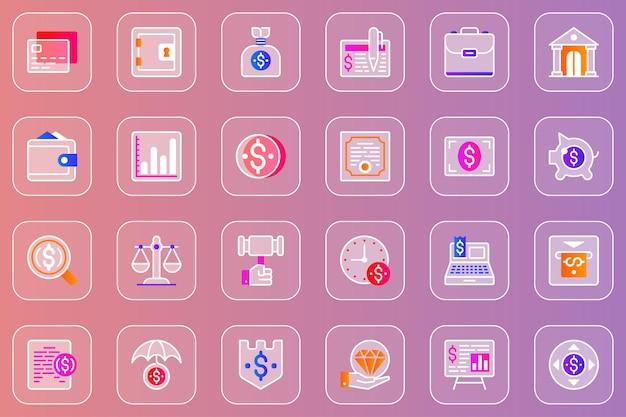 Conjunto de ícones de glassmorphic da web de finanças empresariais