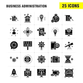 Conjunto de ícones de glifo de administração de negócios