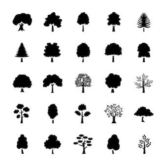 Conjunto de ícones de glifo de árvores