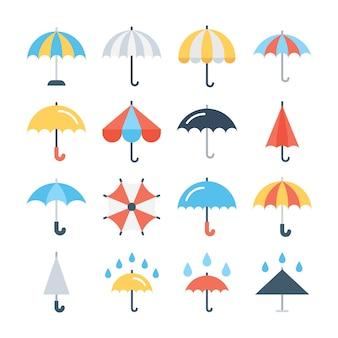 Conjunto de ícones de glifo de guarda-chuva