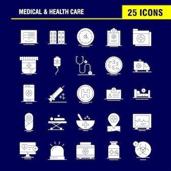 Conjunto de ícones de glifo sólido de cuidados médicos e de saúde