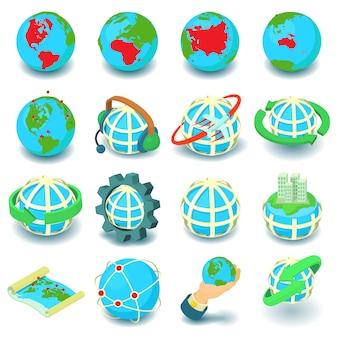 Conjunto de ícones de globalização. ilustração dos desenhos animados de 16 ícones de vetor de globalização para web