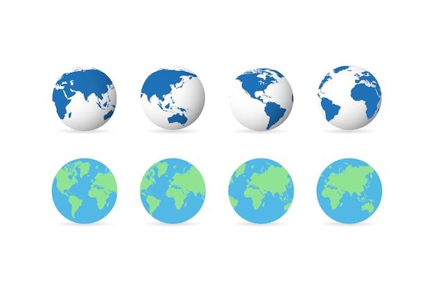 Conjunto de ícones de globo terra em design plano e linear