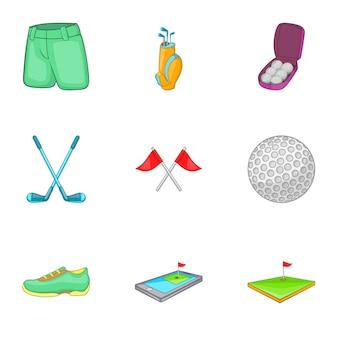 Conjunto de ícones de golfe, estilo cartoon