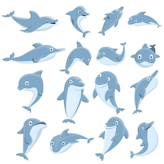 Conjunto de ícones de golfinho, estilo cartoon