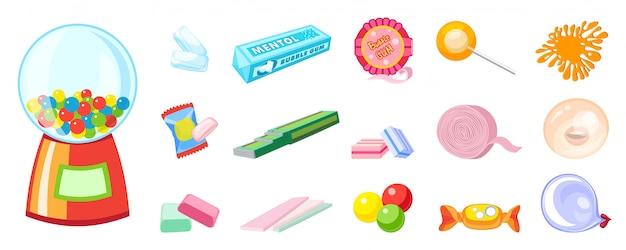 Conjunto de ícones de goma. conjunto de desenhos animados de ícones de goma