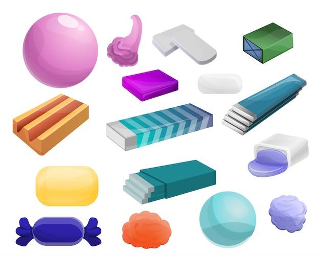 Conjunto de ícones de goma, estilo cartoon