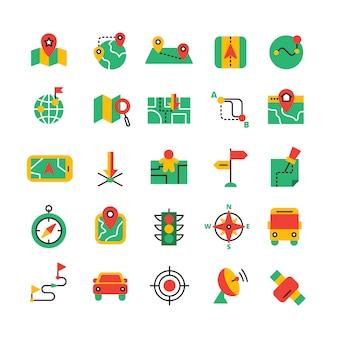 Conjunto de ícones de gps e navegação de cor lisa com veículos de equipamento de satélite e rota de estrada isolaram ilustração vetorial