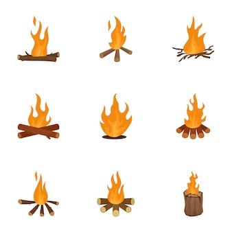 Conjunto de ícones de grama brome, estilo cartoon