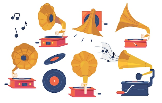 Conjunto de ícones de gramofone e discos de vinil isolados no fundo branco, equipamento antigo para ouvir música