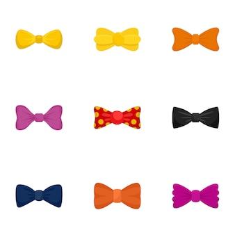 Conjunto de ícones de gravata borboleta. conjunto plano de 9 ícones de gravata borboleta